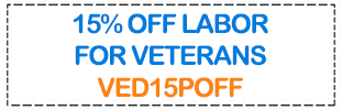 Coupon: 15% off for veterans.